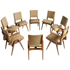 Set of Eight Dining Chairs by Maurice Pré, France, 1950
