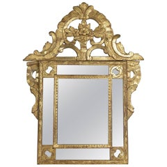 French Regence Period, Hand-Carved Giltwood Front-Top Mirror, circa 1720