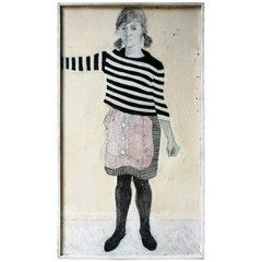Patricia Algar, Full Length Mixed-Media Self Portrait On Board, 1965
