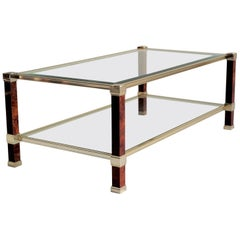 Rectangular Coffee Table with Double Tray, Pierre Vandel, France, 1980
