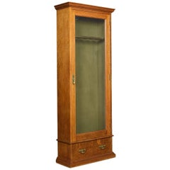 Late Victorian Oak Floor Standing Gun Display Cabinet