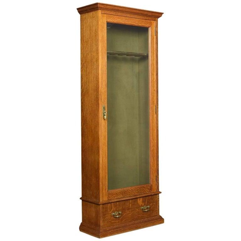 Late Victorian Oak Floor Standing Gun Display Cabinet At