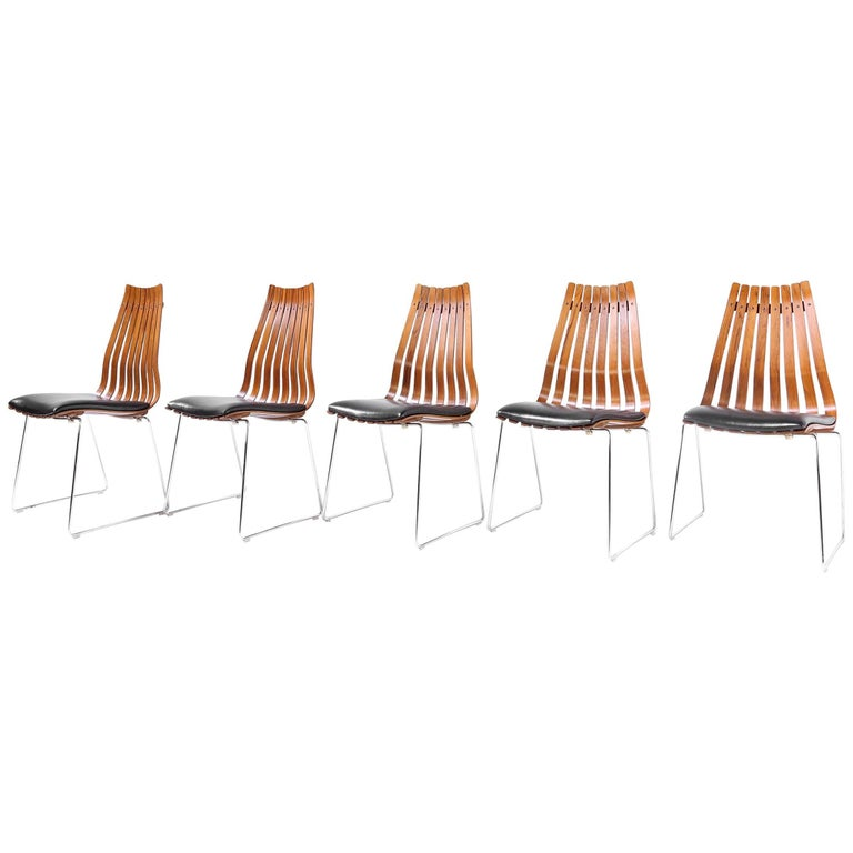Five Hans Brattrud Rosewood Scandia Chairs Produced by Hove Mobler Norway