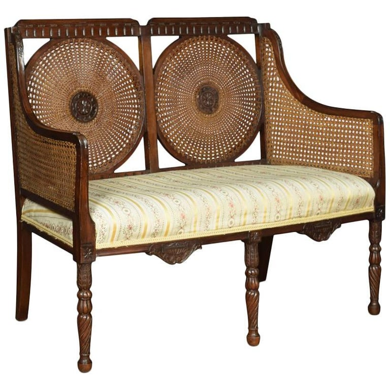 Double Caned Bergere Settee