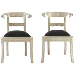 Pair of Ram's Head Metal Wrapped Anglo-Indian Regency Style Dowry Wedding Chairs