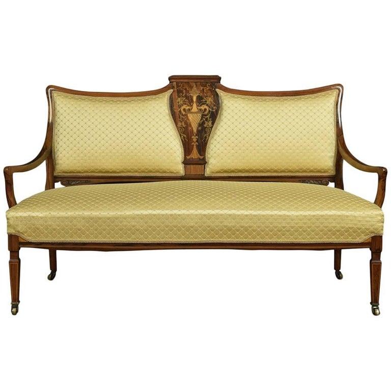 Edwardian Inlaid Rosewood Two-Seat Settee