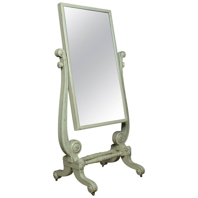 Regency Painted Cheval Mirror For Sale