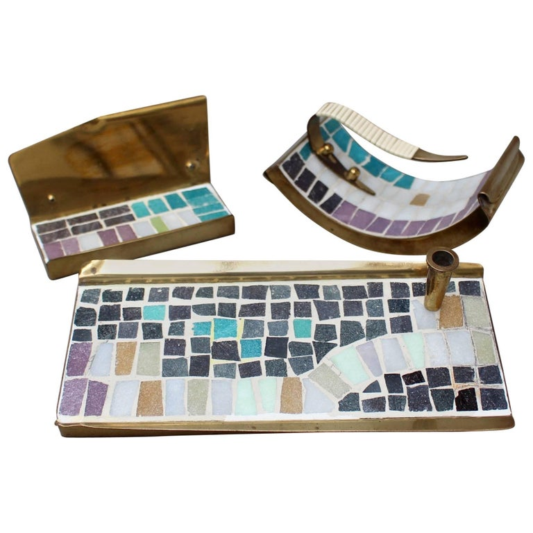 Midcentury Brass and Mosaic Tile Desk Accessories Set, circa 1960s