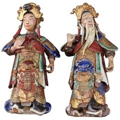Set of Two 19th Century Chinese Earthenware Decorative Wall-Hanging Figures