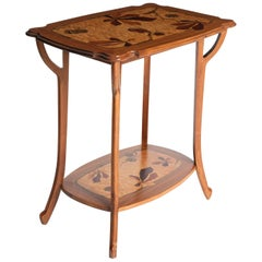 French Art Nouveau Table Gueridon Rosewood with Inlays from Edouard Diot