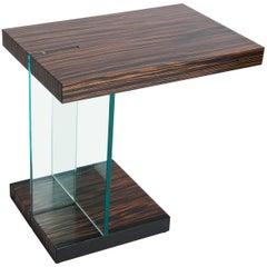 Mid-Century Italian Side Table Zebrawood Veneer with Fontana Arte Glass