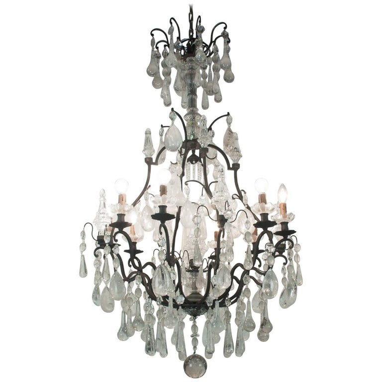 19th Century Bronze Chandelier with Rock Crystal For Sale