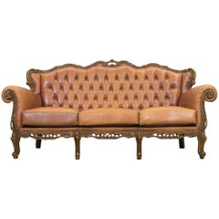 Chesterfield Baroque Leather Sofa Cognac Brown Three-Seat Wood Retro Vintage