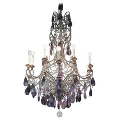 19th Century Bronze Chandelier with Blue John Stones and Glass