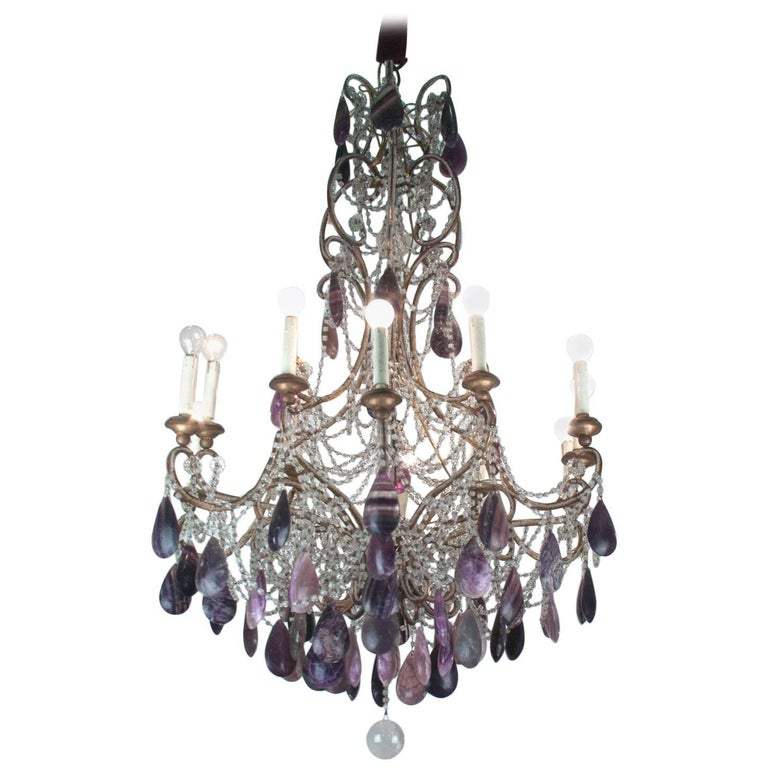 19th Century Bronze Chandelier with Blue John Stones and Glass For Sale