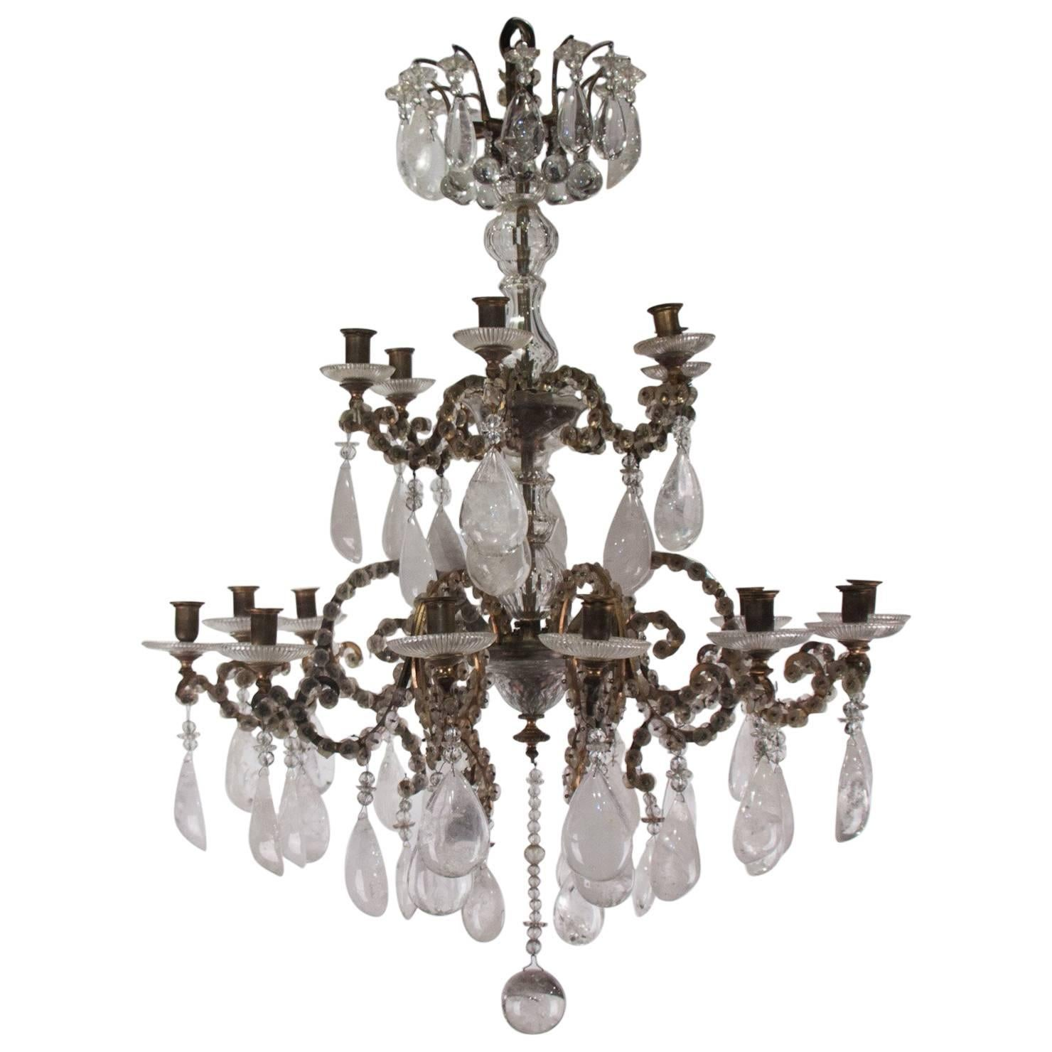 19th Century Chandelier of Rock Crystal and Glass
