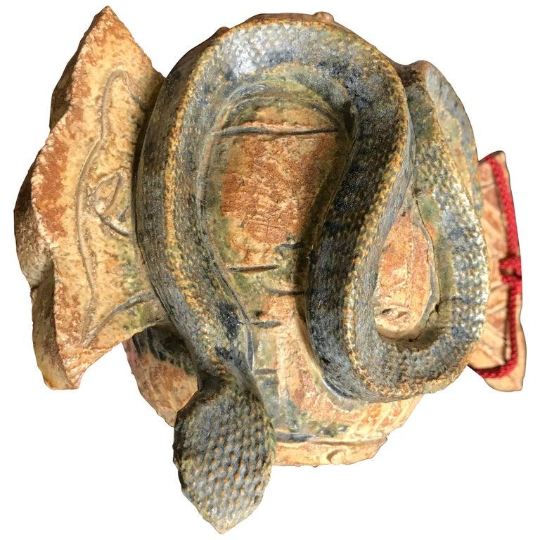 Japan Fine Antique Snake Zodiac Handmade and Hand-Painted Ceramic Sculpture