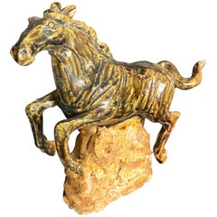 Japan Fine Old Galloping Horse Handmade and Hand-Painted Ceramic Sculpture