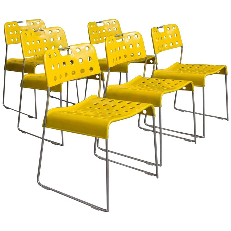 1971, Rodney Kinsman, Set Rare Yellow Omstak Stacking Chairs
