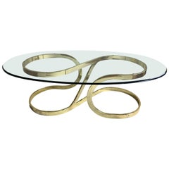 Sculptural Brass and Glass Cocktail Table