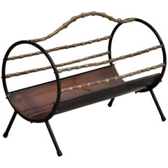 Bamboo Brass Fireplace Wood Holder in Copper and Wrought Iron