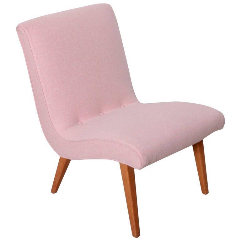 Jens Risom Lounge Chair 654U for Knoll in Pink Felt Fabric For Sale at 1stdibs