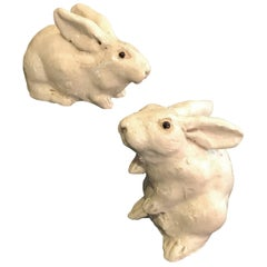 Japan Lovable Pair of Pure White Rabbits with Fine Craquelure Glazing