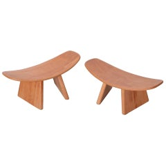 Signed Quot Guldhoj Quot Teak And Leather Folding Stool By Poul