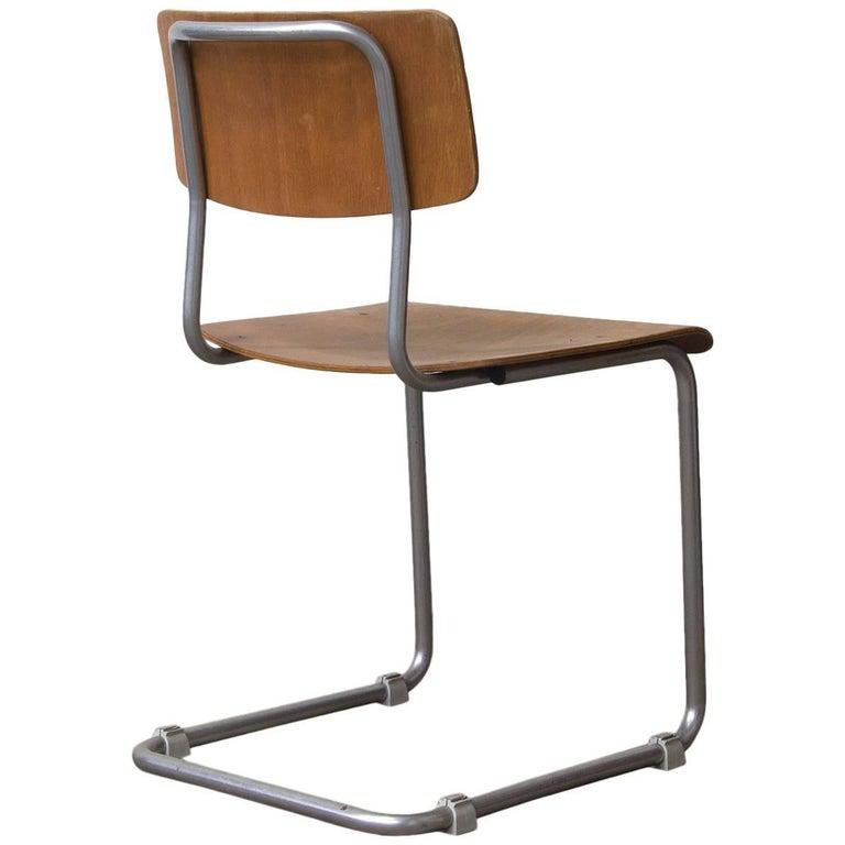 W.H. Gispen, Original Chair with Mat Chrome Frame Wooden Seat/Back, circa 1960