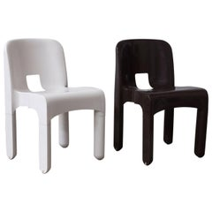 1967 Joe Colombo, Universale Plastic Chair, Type 4867 in Chocolate Brown & White