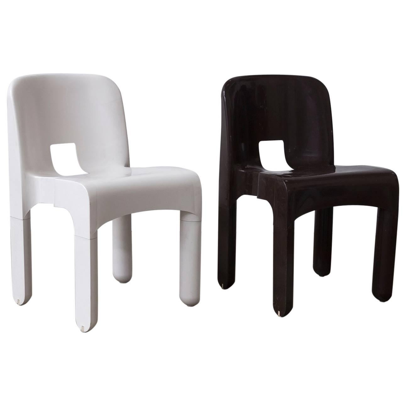 1967 Joe Colombo, Universale Plastic Chair, Type 4867 In Chocolate Brown U0026  White For
