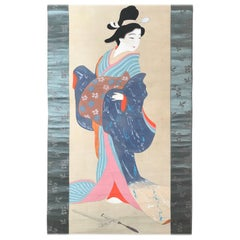 "Japan Antique Hand-Painted Scroll ""Bijin Beauty Wearing Beautiful Blue Kimono"""