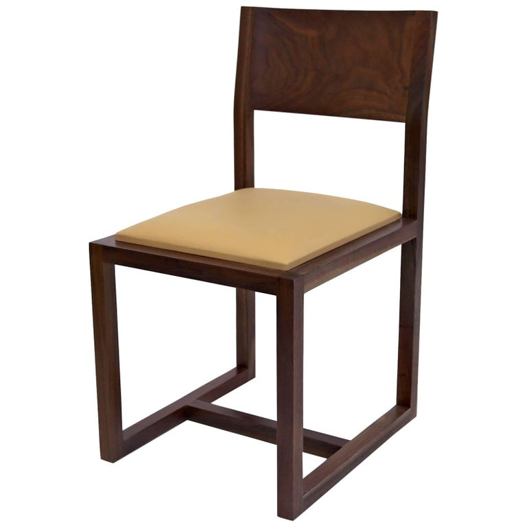 St. Lawrence Dining Chair Walnut Hardwood Leather Upholstered