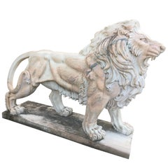 LAST SALE Early 20th Century Large White Marble Lion, Italy
