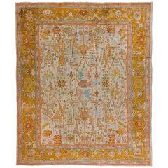 Oversize Antique Turkish Oushak Decorative Rug