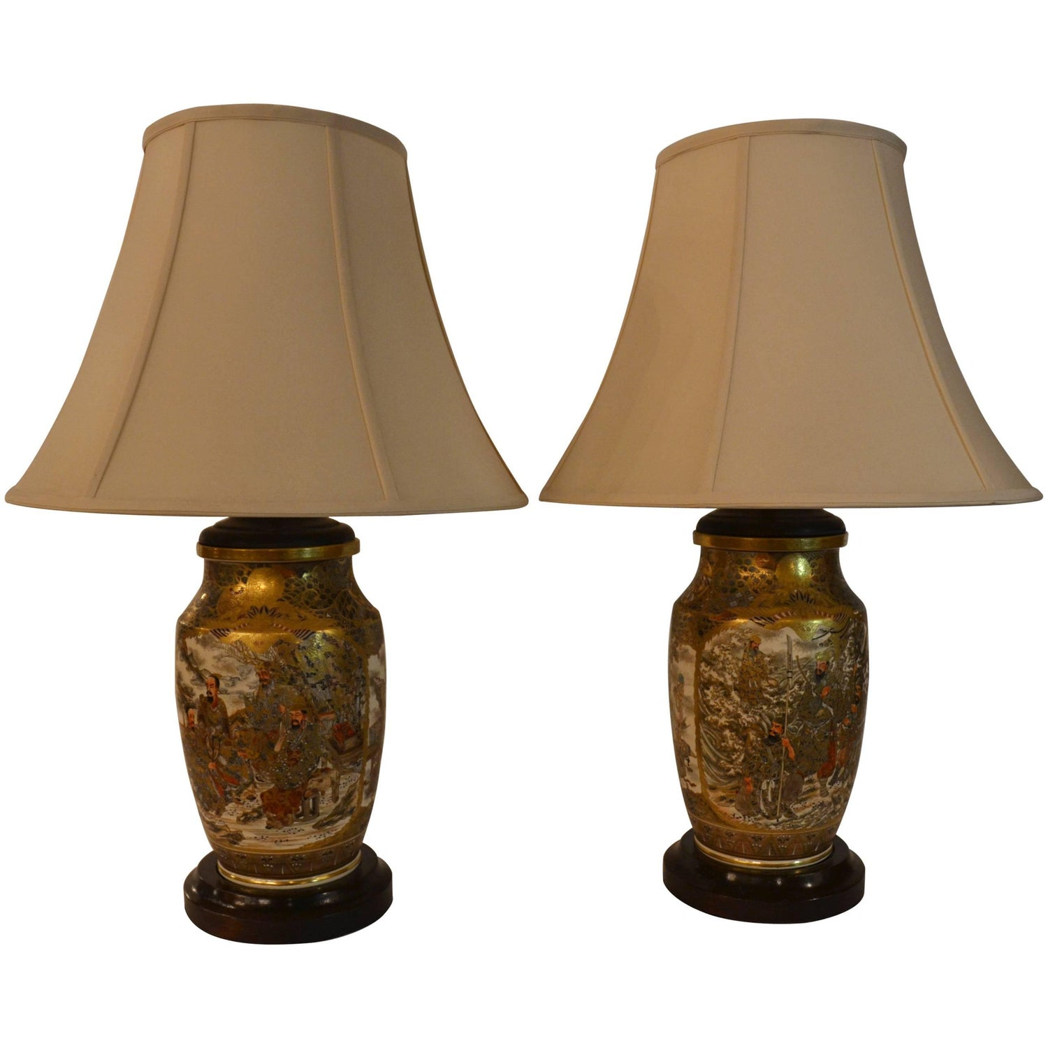 Japanese table lamps 175 for sale at 1stdibs pair of antique satsuma japanese lamps with mahogany base geotapseo Choice Image