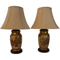 Pair of Antique Satsuma Japanese Lamps with Mahogany Base