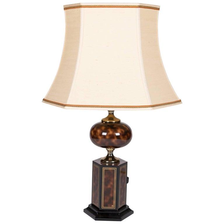 Faux Tortoise Table Lamp by Maison Jansen 1
