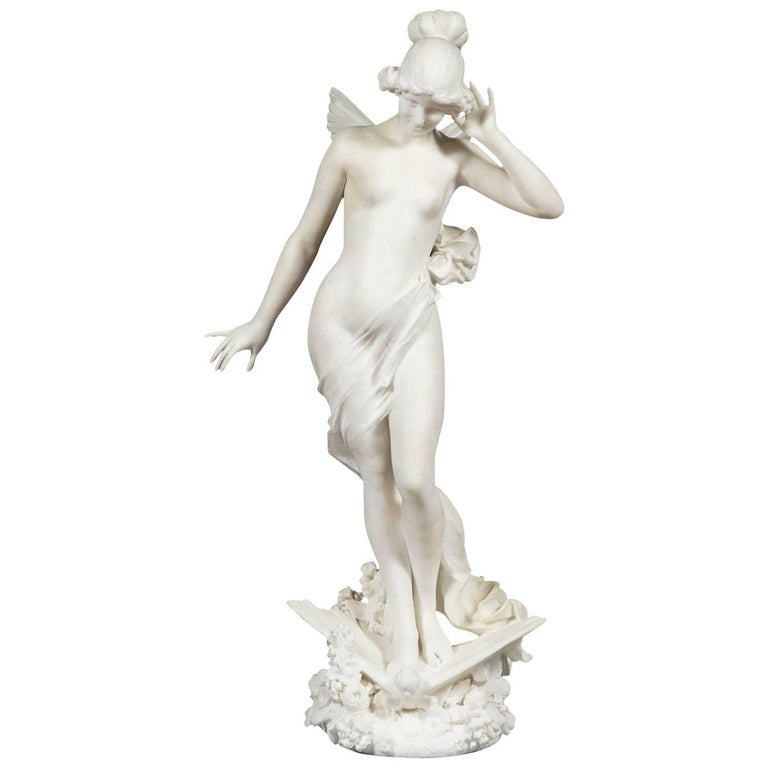 19th Century Italian Marble Figure of a Nymph on a Butterfly A. Batacchi