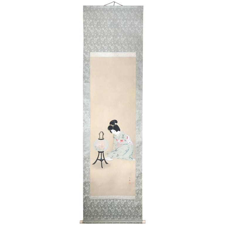 Japanese Hand-Painted Silk Scroll