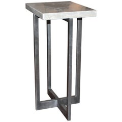 Polished Patinaed Steel End Table with Lagos Stone Top