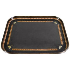 Victorian Large Black Lacquer Tray by Jennens & Bettridge