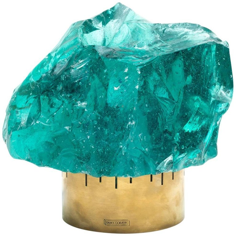 Chiseled Green Crystal Table Lamp in the Manner of Max Ingrand for Saint Gobain