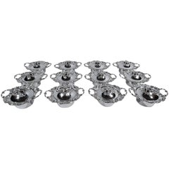 Set of 12 Antique American Sterling Silver Covered Turtle Soup Bowls