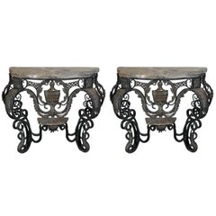Pair Baroque Style Bronze and Iron Consoles with Marble Tops