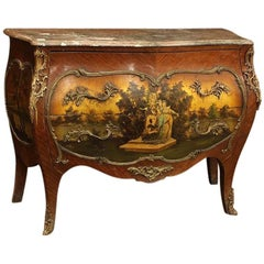 French Bronze-Mounted Vernis Martin Style Bombe Commode