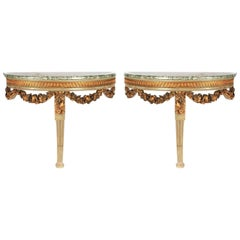 Pair of Louis XVI Style Demilune Consoles, 19th Century