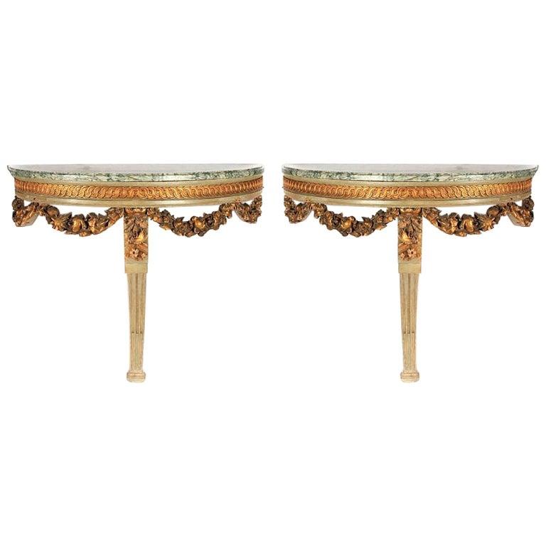 Pair of Louis XVI Style Demilune Consoles, 19th Century