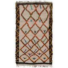 Boho Chic Vintage Berber Moroccan Azilal Rug with Modern Tribal Style