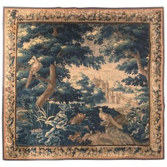 Large 18th Century French Aubusson Verdure Tapestry with Birds and Castle